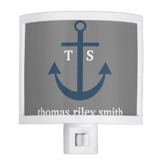 Navy Blue and Grey Anchor Nursery Night Light