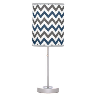 Navy Blue and Grey Chevron Table Lamp