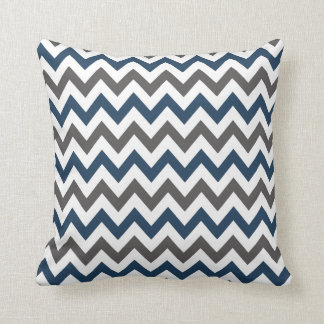Navy Blue and Grey Chevron Throw Pillow
