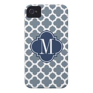 Navy Blue and Grey Quatrefoil Custom Monogram Case-Mate iPhone 4 Case