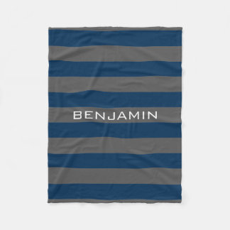 Navy Blue and Grey Rugby Stripes with Custom Name Fleece Blanket
