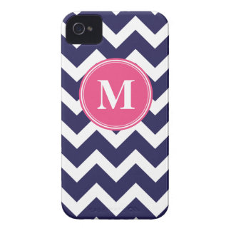 Navy Blue and Hot Pink Chevron Custom Monogram iPhone 4 Case