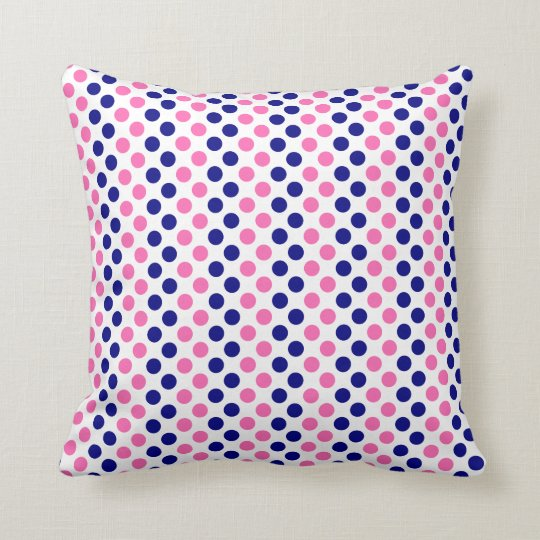 Navy Blue and Hot Pink Polka Dot Pattern Throw Pillow