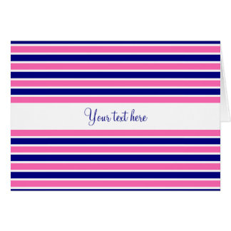 Navy Blue and Hot Pink Stripes Pattern Card