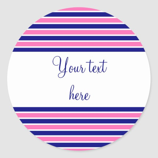 Navy Blue and Hot Pink Stripes Pattern Classic Round Sticker