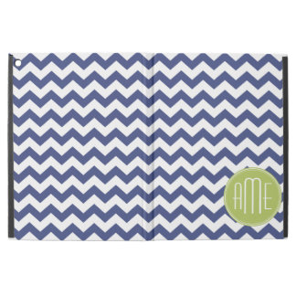 Navy Blue and Lime Green Chevron Pattern