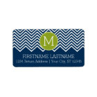 Navy Blue and Lime Green Chevrons Custom Monogram Label