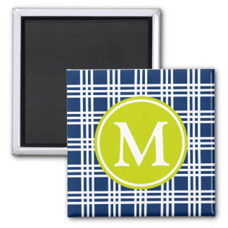 Navy Blue and Lime Green Lattice Monogram Magnet