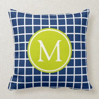 Navy Blue and Lime Green Lattice Monogram Throw Pillow