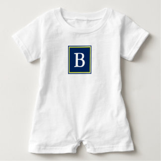 Navy Blue and Lime Green Monogram Baby Romper