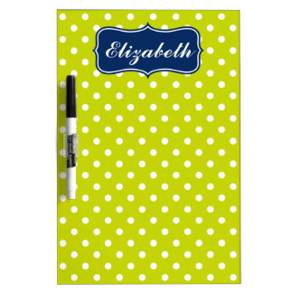 Navy Blue and Lime Green Polka Dot Personalized Dry Erase Board
