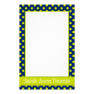 Navy Blue and Lime Green Polka Dot Personalized Stationery