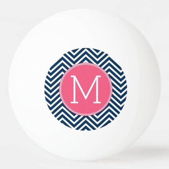Navy Blue and Magenta Chevrons Custom Monogram Ping Pong Ball