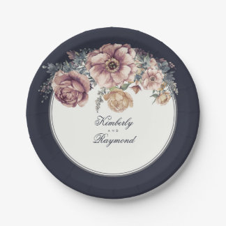 Navy Blue and Mauve Watercolor Flowers Vintage Paper Plate