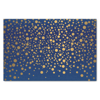 Navy Blue and Metallic Gold Confetti Tissue Paper