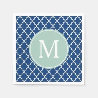 Navy Blue and Mint Green Quatrefoil Monogram Paper Napkins
