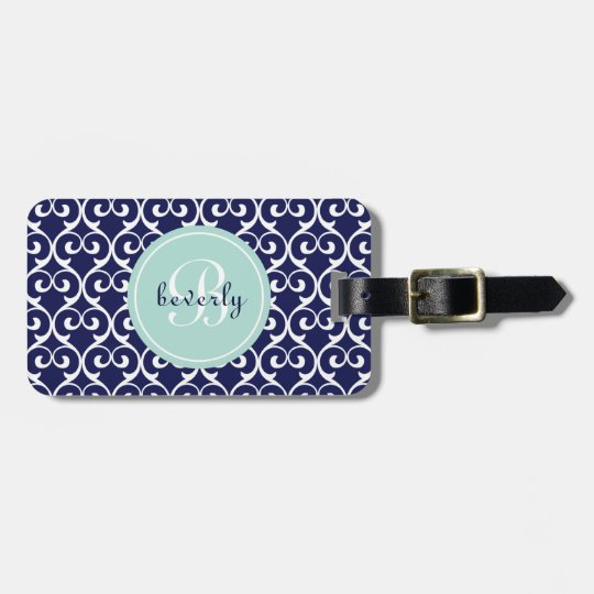 Navy Blue and Mint Heartlocked Print Luggage Tag