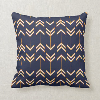Navy Blue and Orange Arrow Pattern Bohemian Boho Throw Pillow