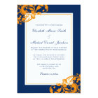 Navy Blue and Orange Flourish Swirls Wedding Card