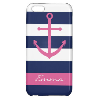 Navy Blue and Pink Anchor Monogram Case