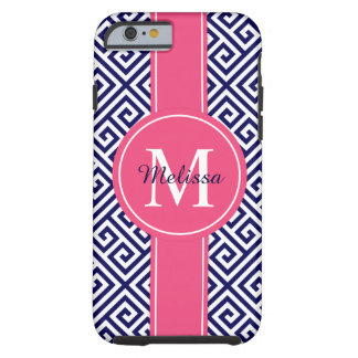 Navy Blue and Pink Blush Greek Key Pattern Tough iPhone 6 Case