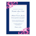 Navy Blue and Pink Flourish Swirls Wedding Card