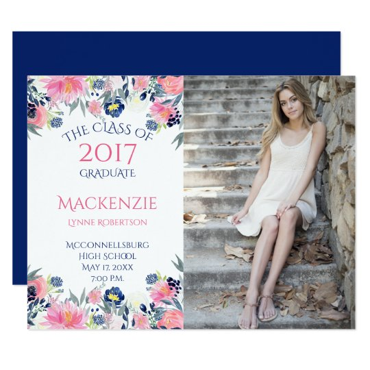 """Navy Blue and Pink Flowers Photo Graduation 4.25"""" X 5.5"""" Invitation Card"""