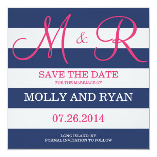 "Navy Blue and Pink Monogram Save the Date 5.25"" Square Invitation Card"