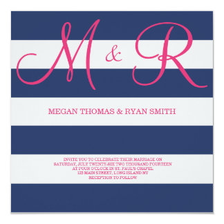 "Navy Blue and Pink Monogram Wedding Invitation 5.25"" Square Invitation Card"