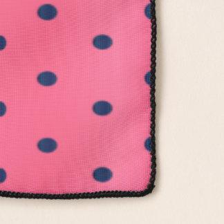 Navy Blue and Pink Polka Dots Scarf