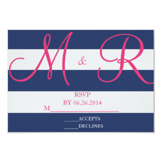 """Navy Blue and Pink Stripe RSVP Card 3.5"""" X 5"""" Invitation Card"""