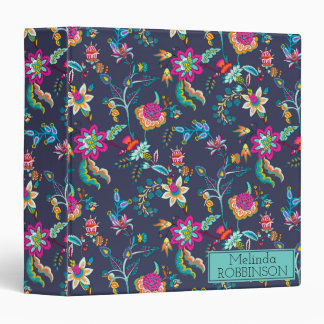 Navy Blue and Purple Gold Floral Custom Binder