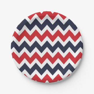 Navy Blue and Red Chevron 7 Inch Paper Plate