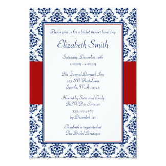 "Navy Blue and Red Damask Bridal Shower 5"" X 7"" Invitation Card"