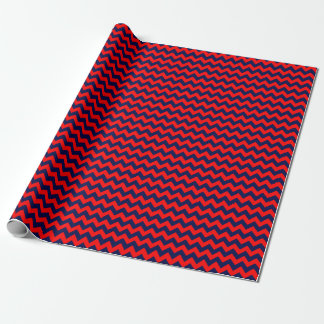 Navy Blue and Red Medium Chevron Wrapping Paper