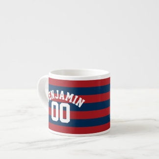 Navy Blue and Red Rugby Stripes Name Number