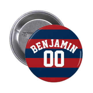 Navy Blue and Red Rugby Stripes Name Number 2 Inch Round Button