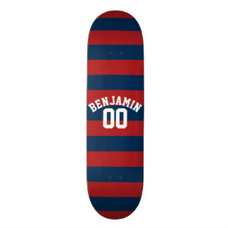 Navy Blue and Red Rugby Stripes Name Number Custom Skate Board