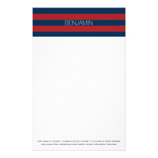 Navy Blue and Red Rugby Stripes with Custom Name Stationery
