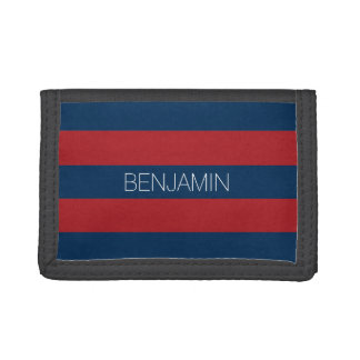Navy Blue and Red Rugby Stripes with Custom Name Trifold Wallets