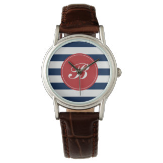 Navy Blue and Red Stripes Pattern Monogram Wristwatch