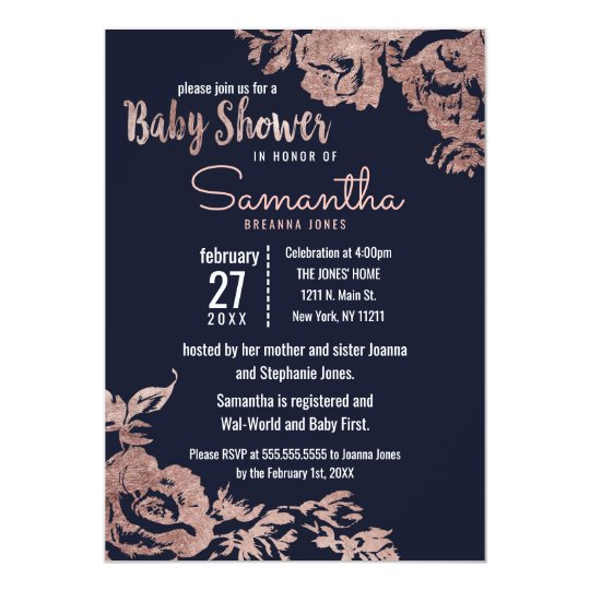 Navy Blue and Rose Gold Floral Baby Shower Card
