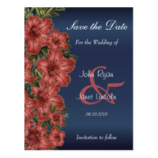 Navy Blue and Rusty Red Lilies - Save The Date Postcard