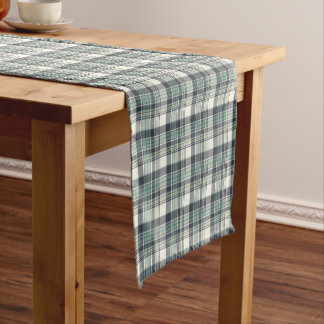 Navy Blue and Seafoam Green Plaid Short Table Runner