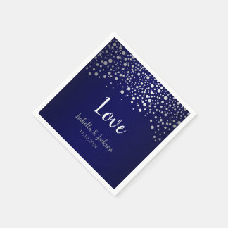 Navy Blue and Silver Confetti Dots Paper Napkins