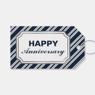 Navy Blue and Silver Diagonal Stripes Anniversary Gift Tags