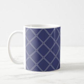 Navy Blue and Silver Geometric Diamond Pattern Coffee Mug