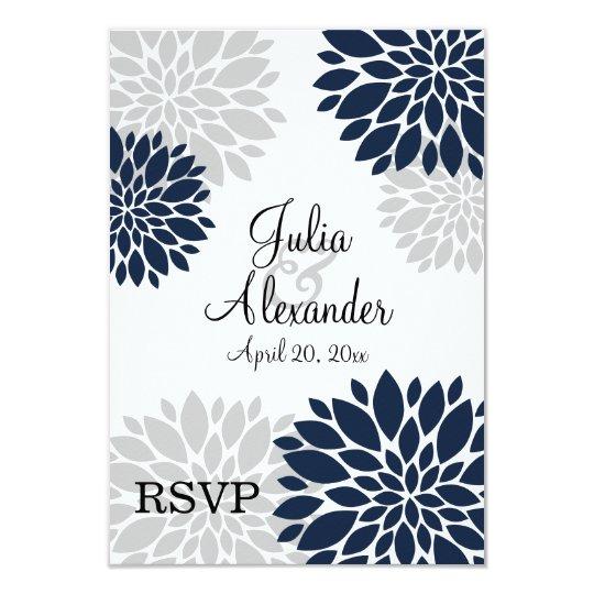 Navy Blue and Silver-Grey Floral Burst RSVP Card