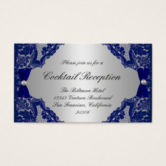 Navy Blue and Silver Reception Cards