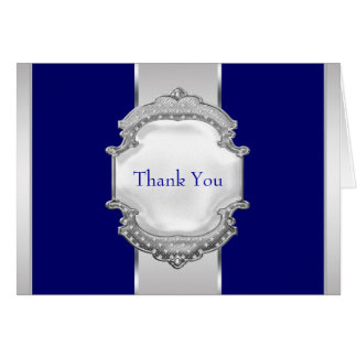 Navy Blue and Silver Thank You Cards